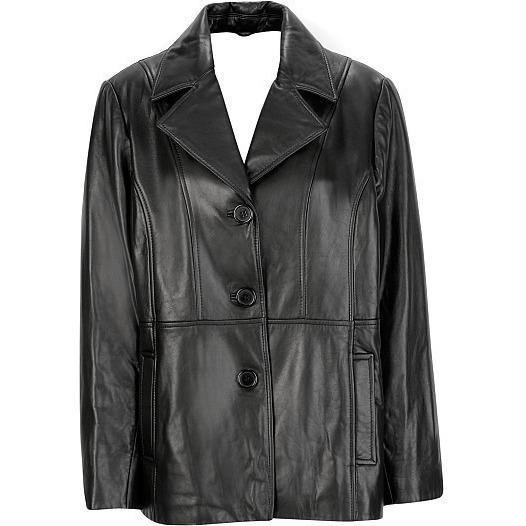 Womens Leather Coat - Ladies 3 Button Leather Blazer Coat