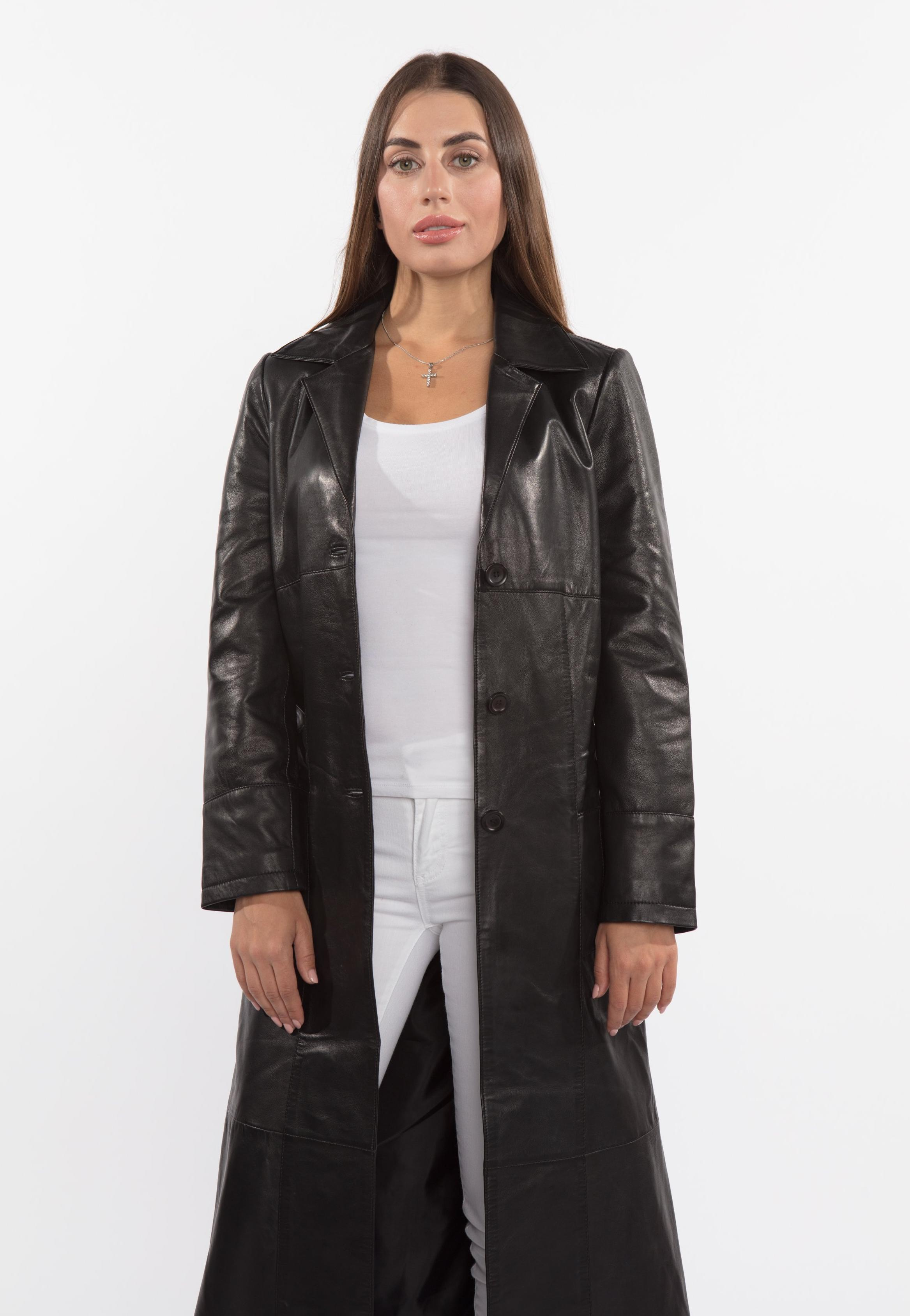 Womens Leather Coat - Ladies 3 Button Matrix Black Full Length Leather Coat