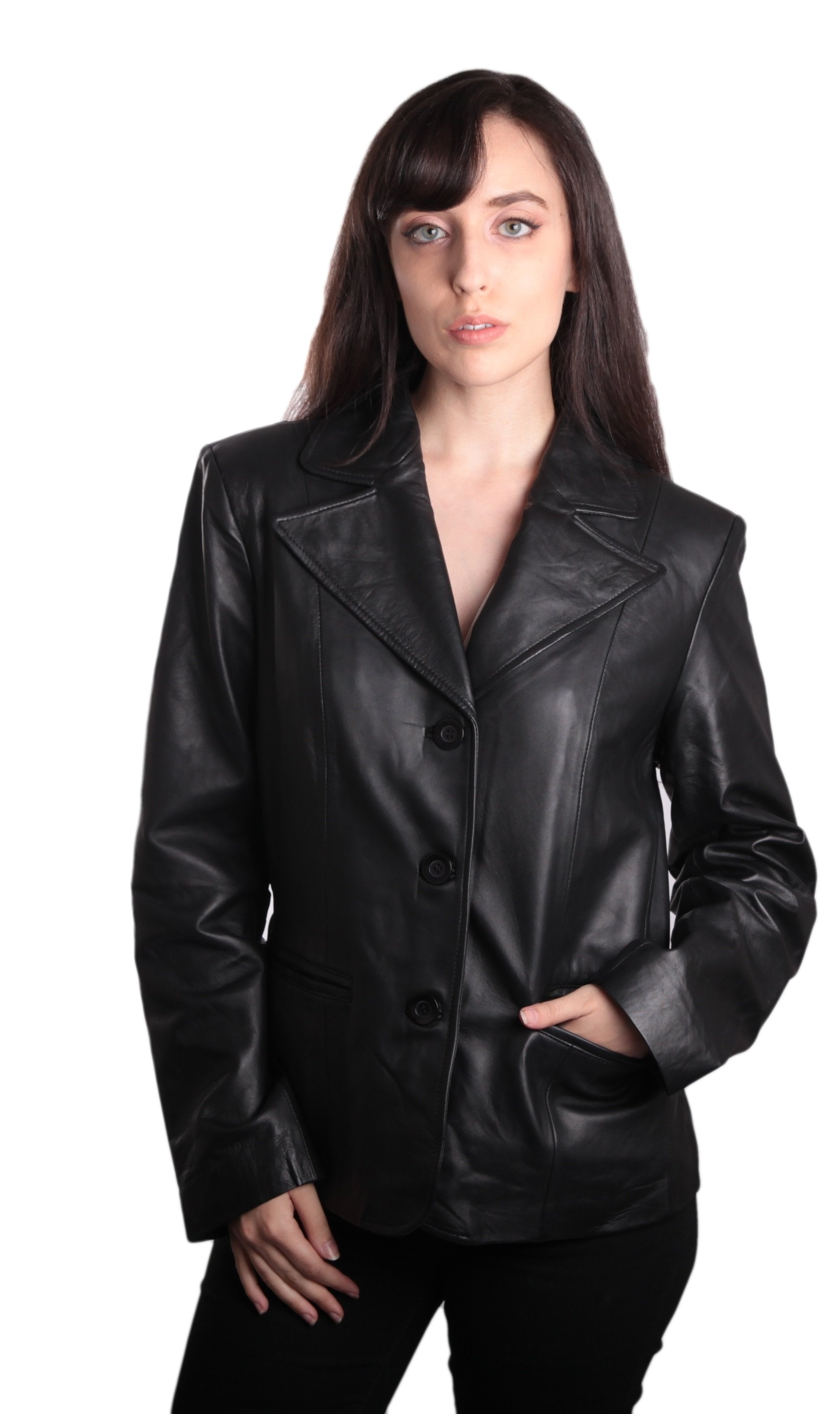 Ladies Fashion 3 Button Black Leather Blazer-Womens Leather Coat-Fadcloset-XS-Black-FADCLOSET
