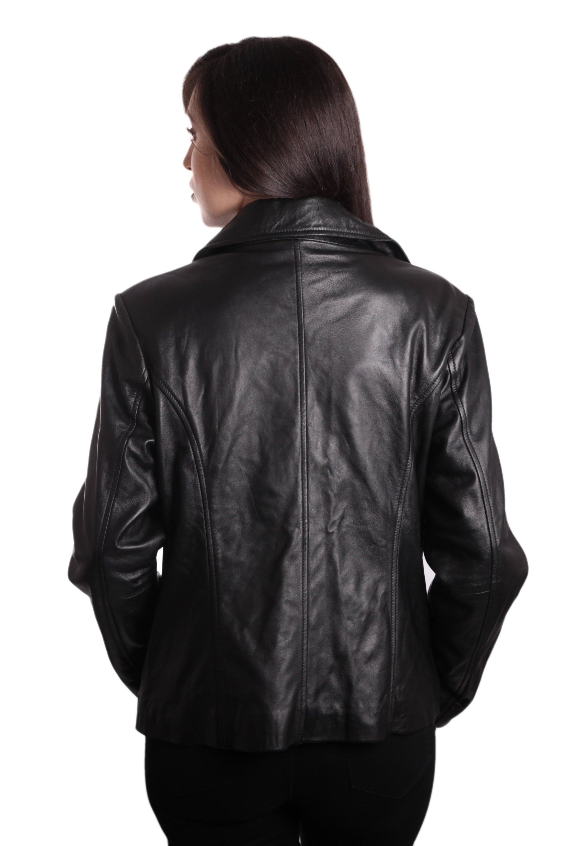 Womens Leather Coat - Ladies Fashion 3 Button Black Leather Blazer