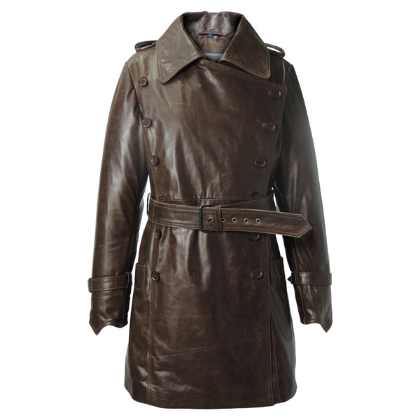 f6b81129 Woman's Marble Brown Vintage Leather Coat