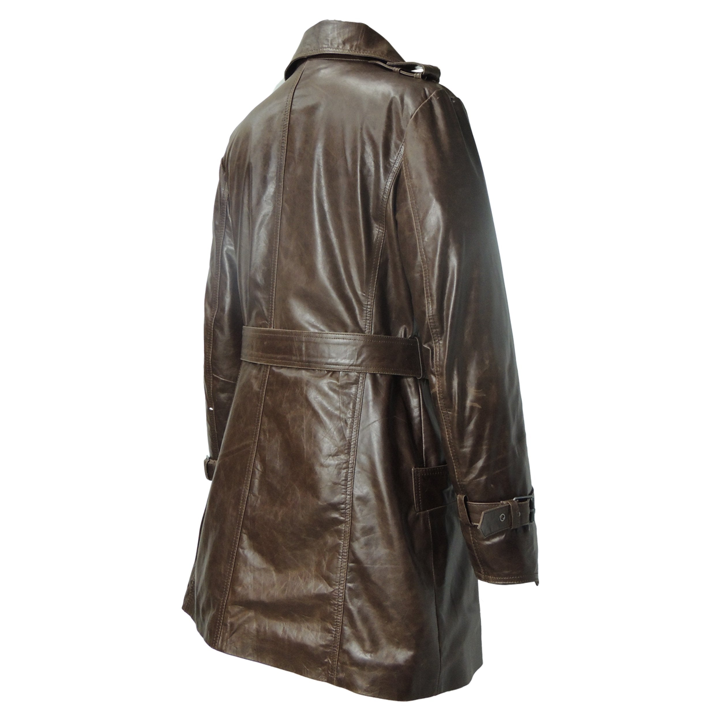 Womens Leather Coat - Woman's Marble Brown Vintage Leather Coat