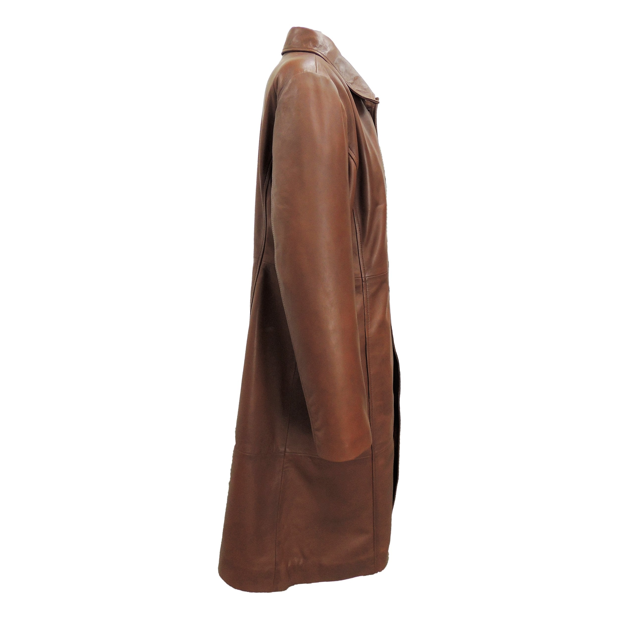 Womens Leather Coat - Womens Elegant Brown Leather Coat