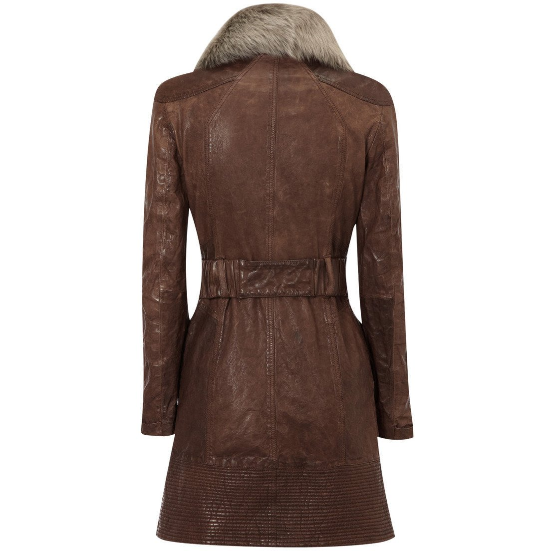Womens Leather Coat - Womens Veg Leather Coat With Fur