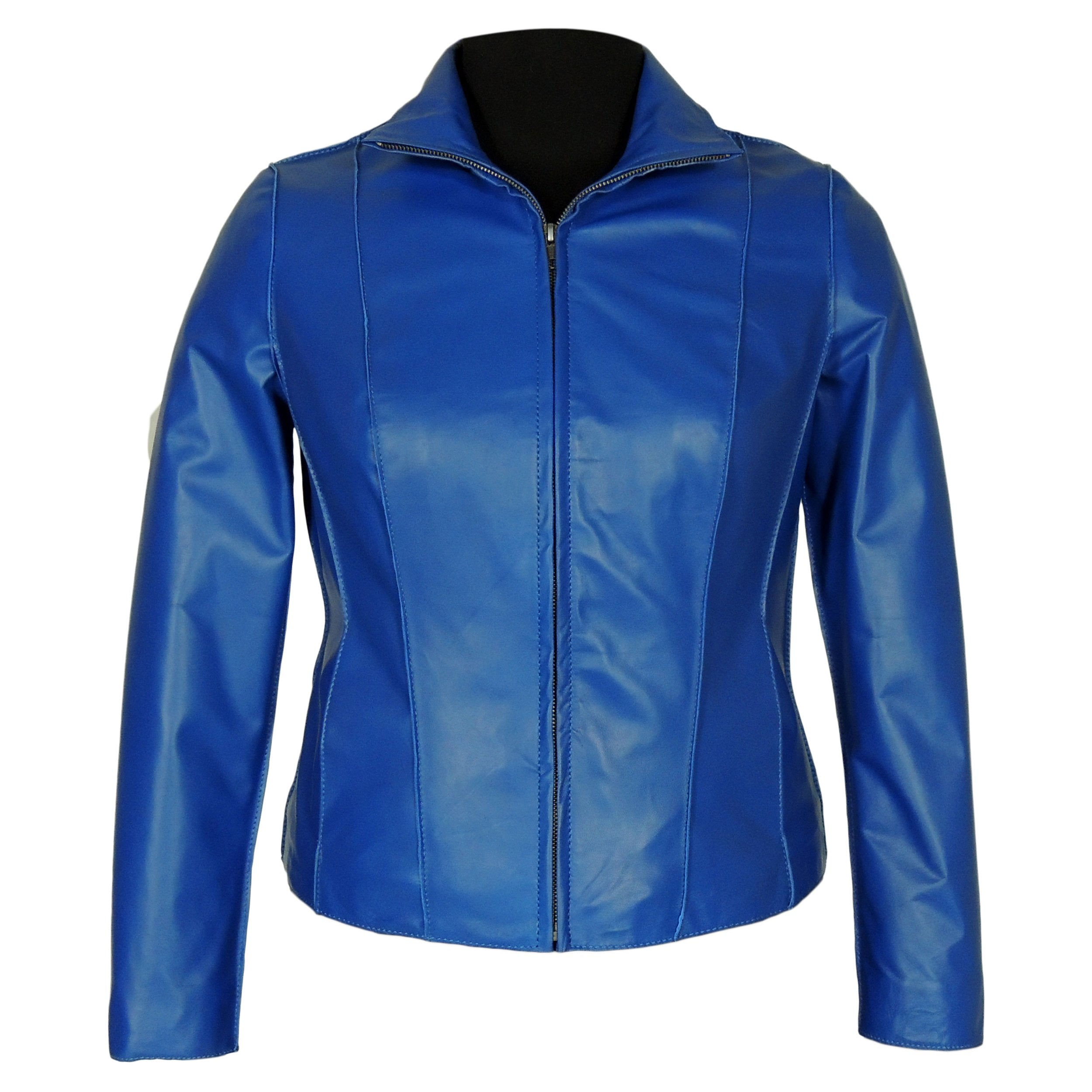 Aaliya Womens Sheepskin Leather Jacket, Blue - Fadcloset