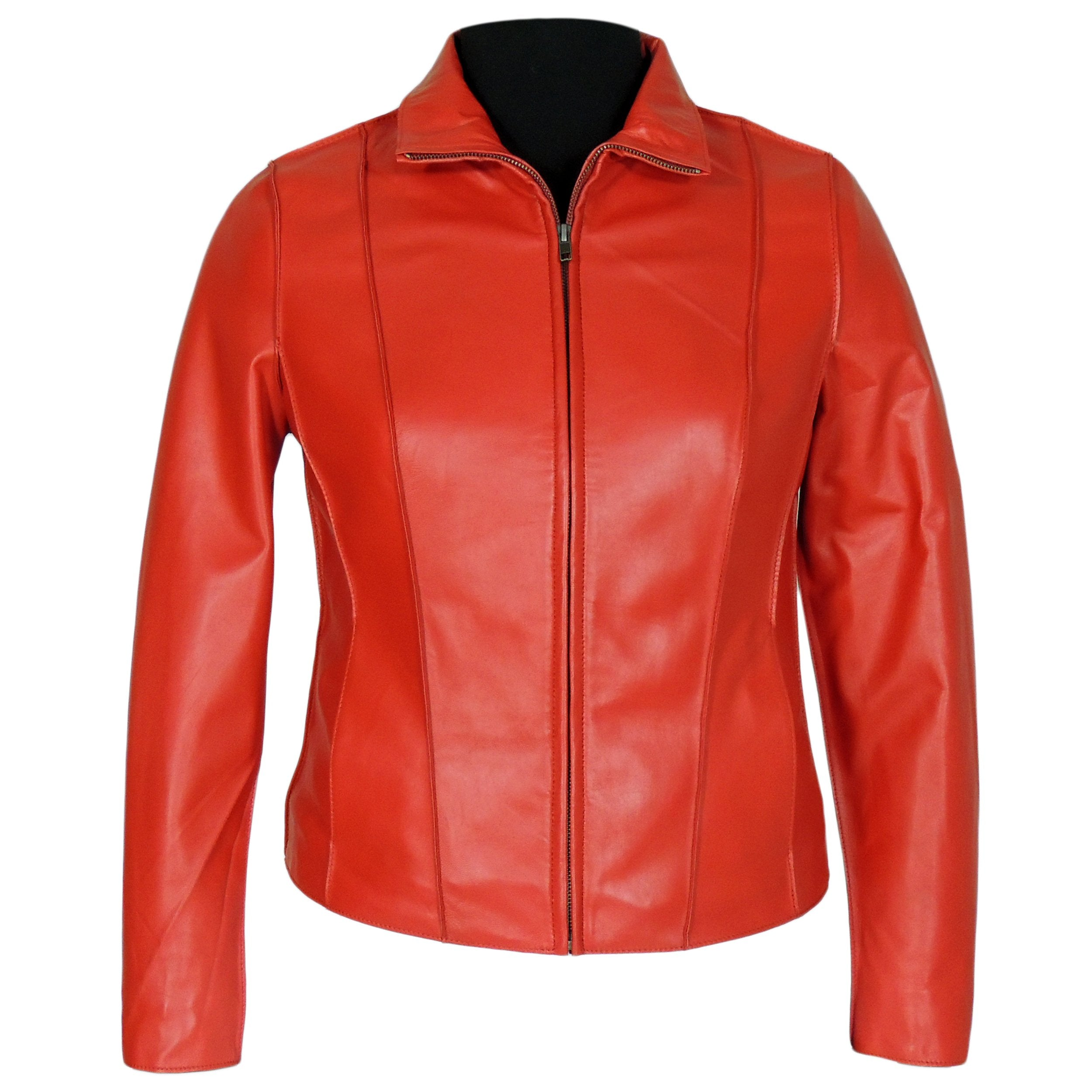 Aaliya Womens Sheepskin Leather Jacket, Red - Fadcloset