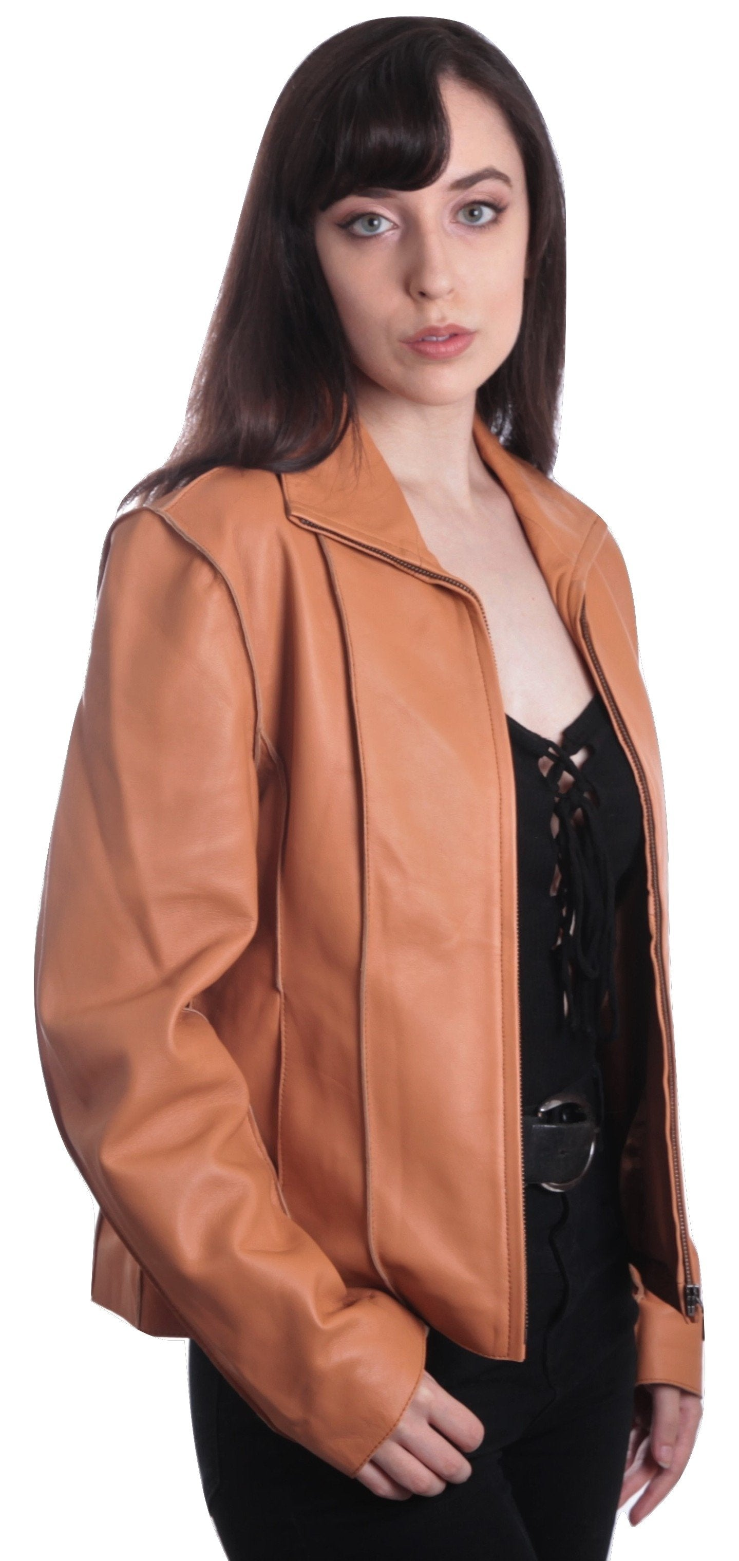 Womens Leather Jacket - Aaliya Womens Tan Sheepskin Leather Jacket - Discounted!