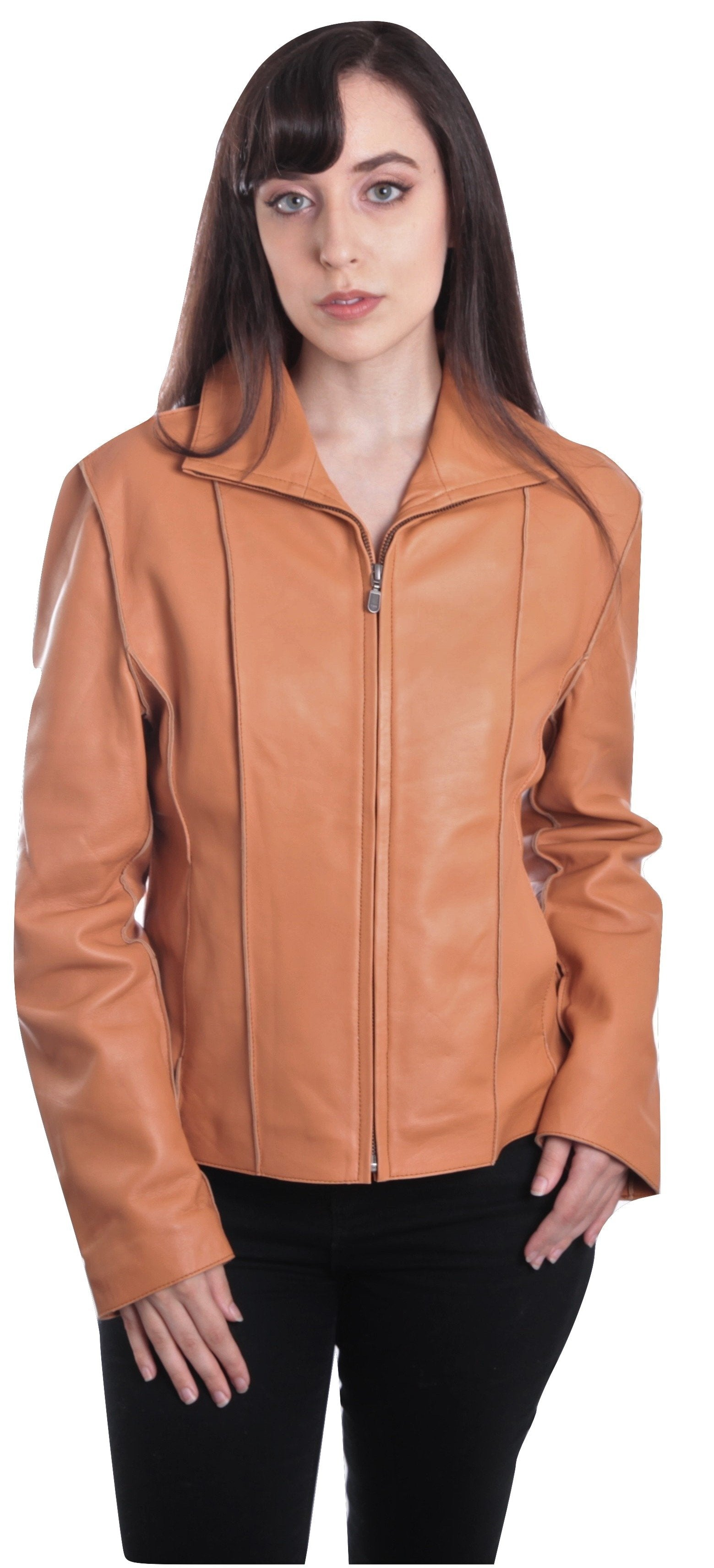 Aaliya Womens Sheepskin Leather Jacket, Tan - Fadcloset