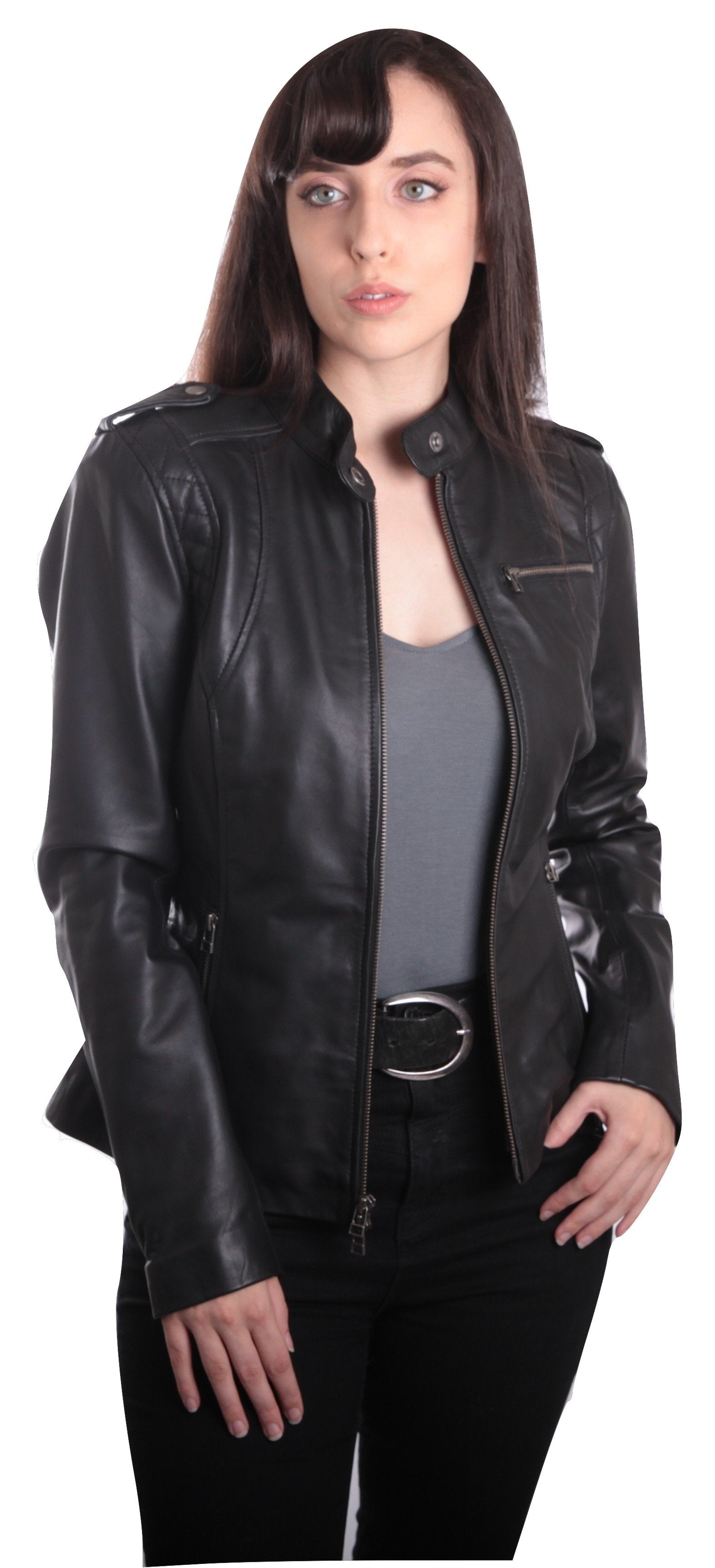 Allie Womens Black Leather Jacket - fadcloset