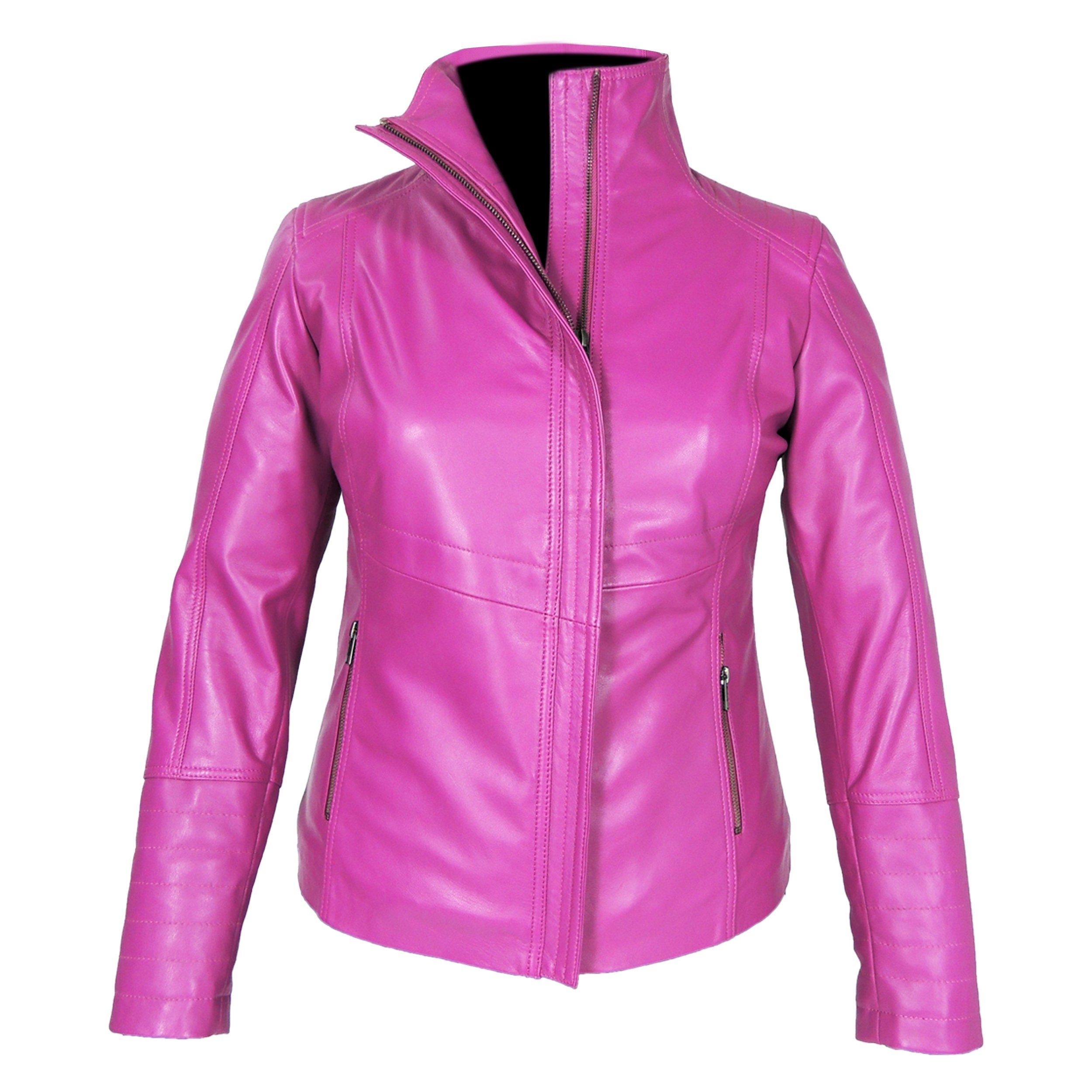 Arra Womens Leather Jacket, Pink - Fadcloset