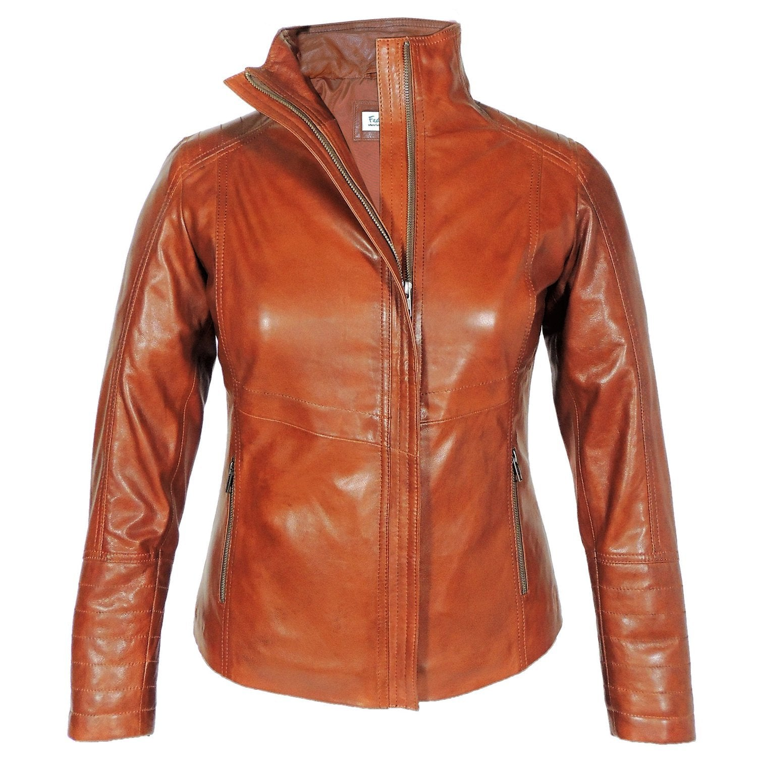Arra Womens Leather Jacket, Brown - Fadcloset