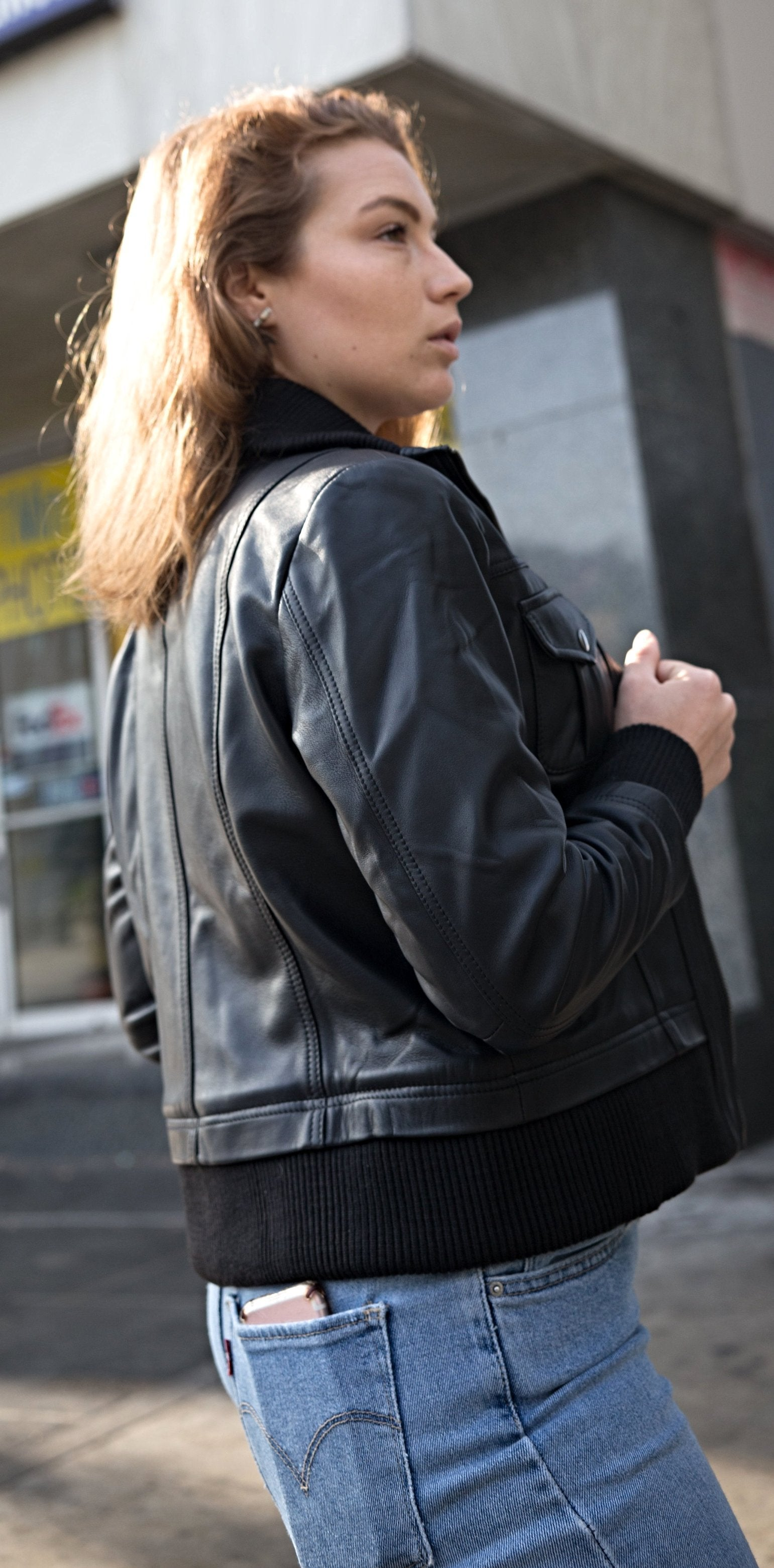 Womens Leather Jacket - Bailey Womens Leather Bomber Jacket - Discounted