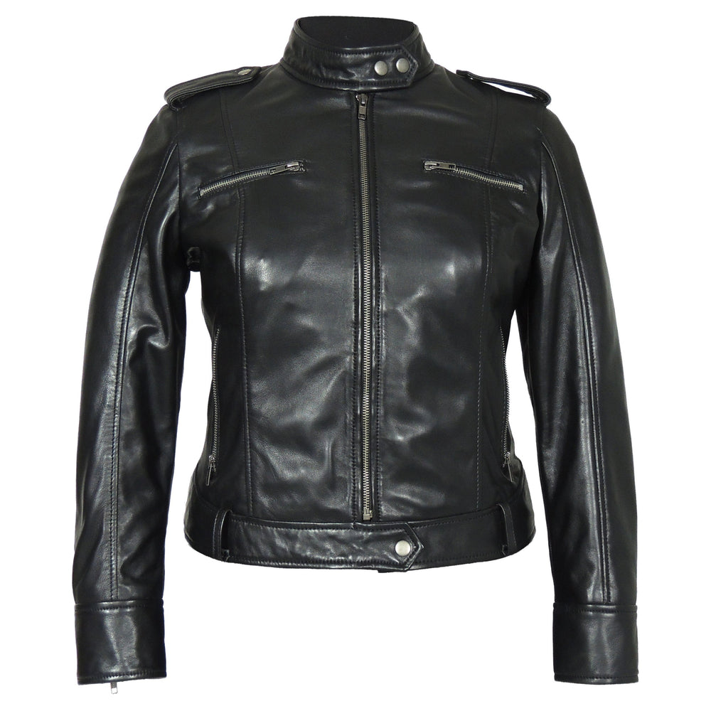 Womens Leather Jacket - Faya Womens Leather Jacket Midnight Blue - Discounted!