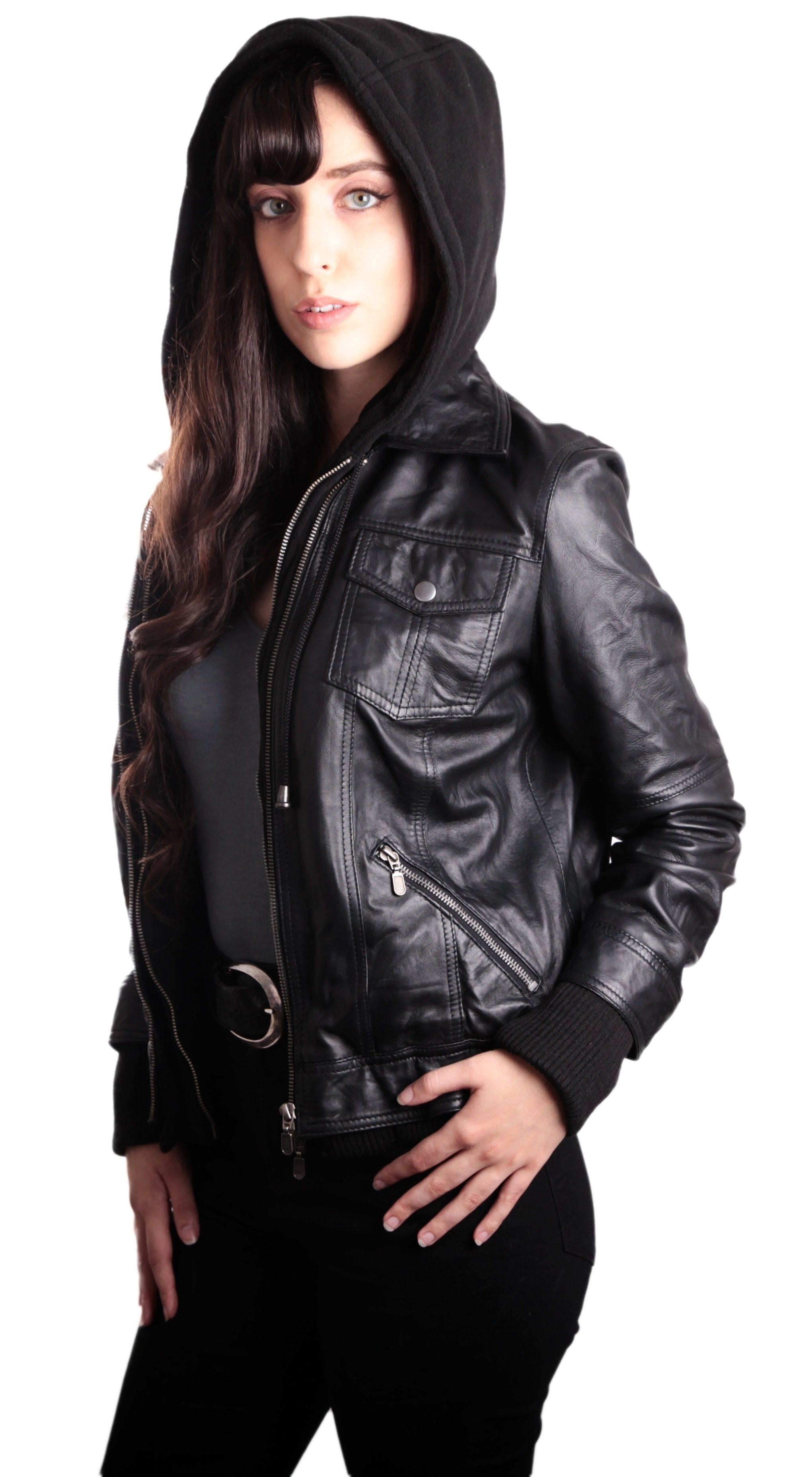 Hooded Bomber Womens Leather Jacket, [option2] - Fadcloset
