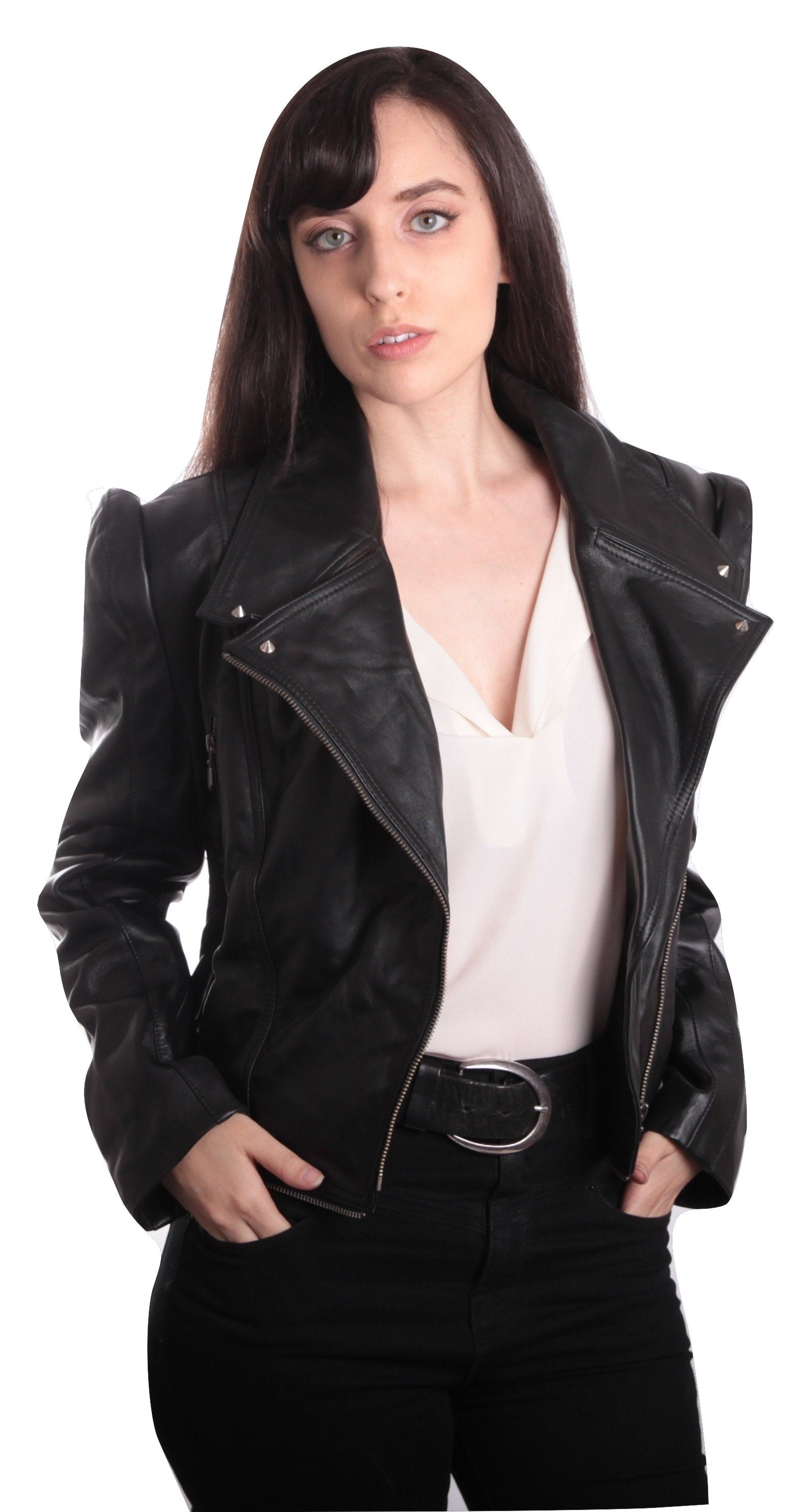 Ladies Anthracite Black Leather Jacket - fadcloset