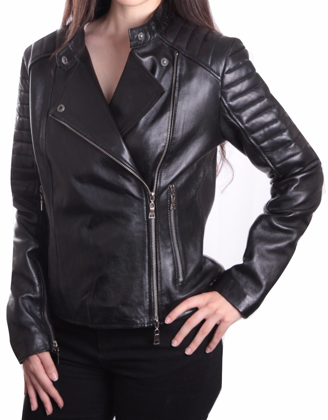 Ladies Bella Black Carla Leather Jacket, [option2] - Fadcloset