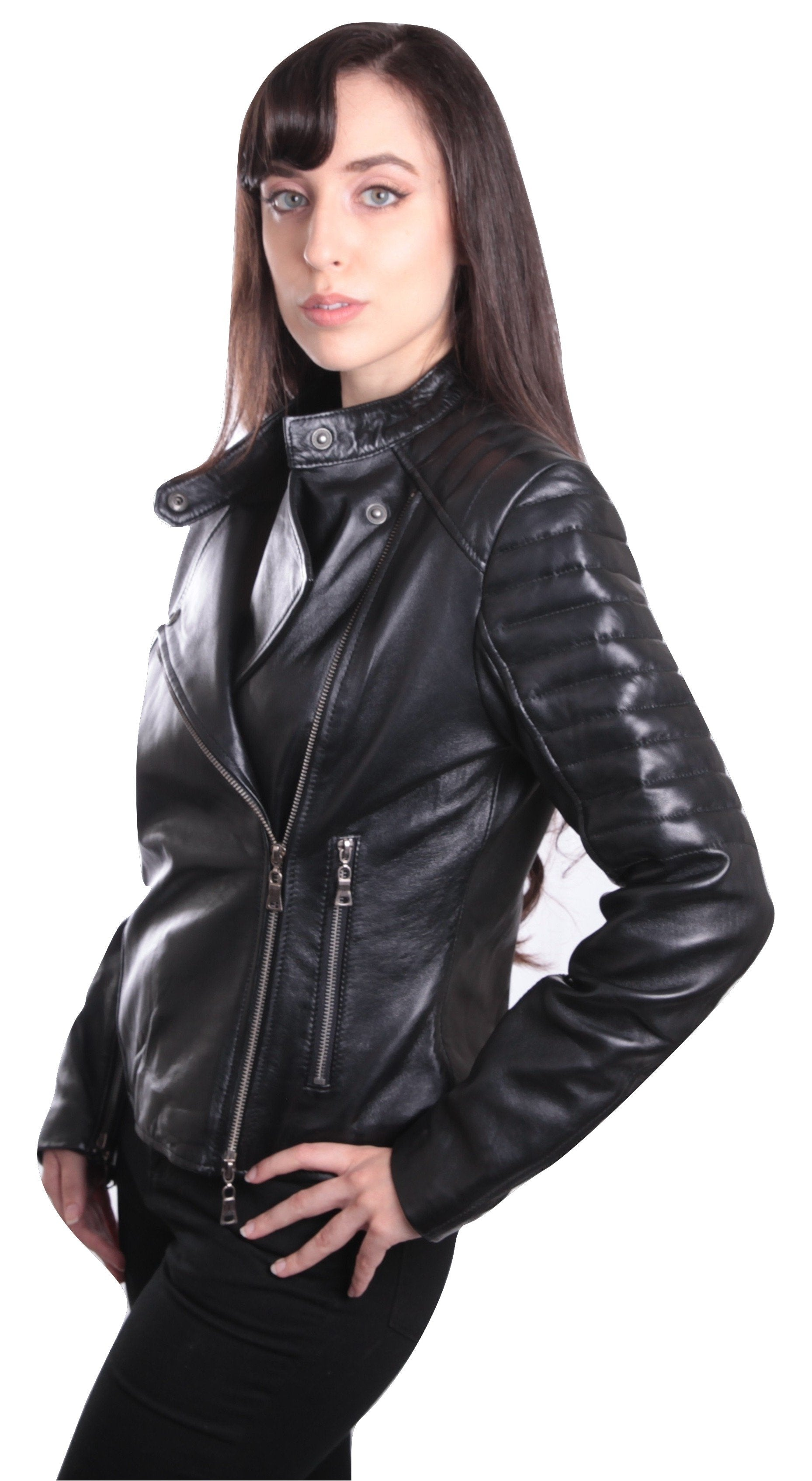 Womens Leather Jacket - Ladies Bella Black Carla Leather Jacket