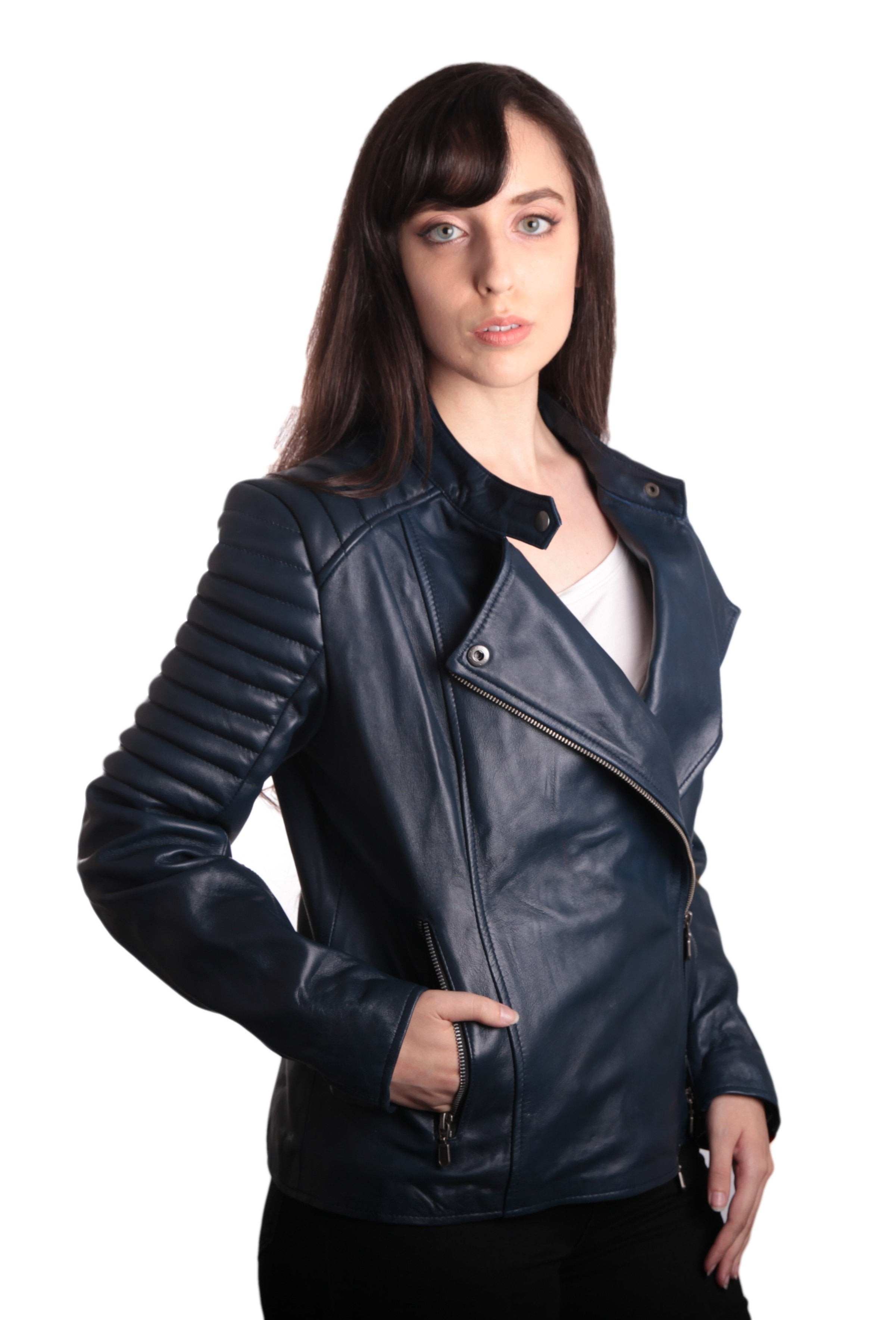 Womens Leather Jacket - Ladies Bella Navy Blue Carla Leather Jacket