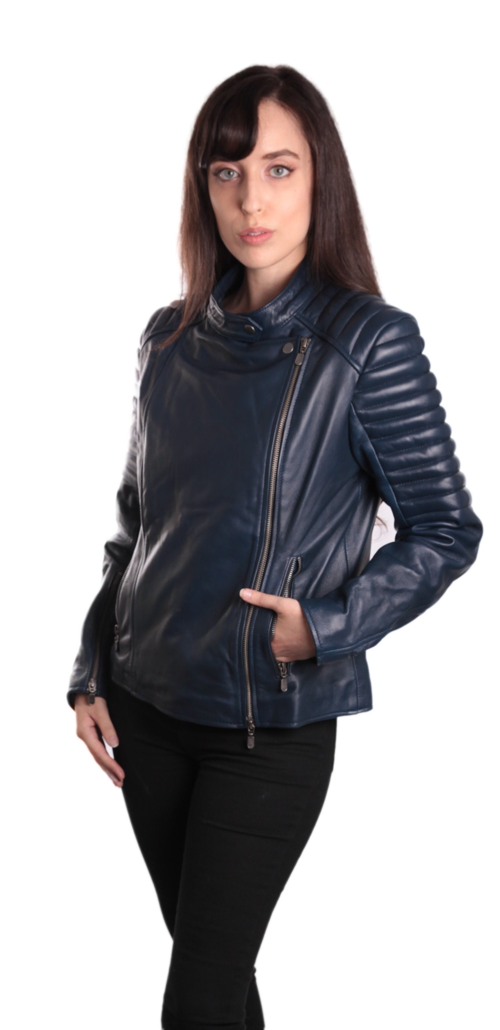 Ladies Bella Navy Blue Carla Leather Jacket - Fadcloset