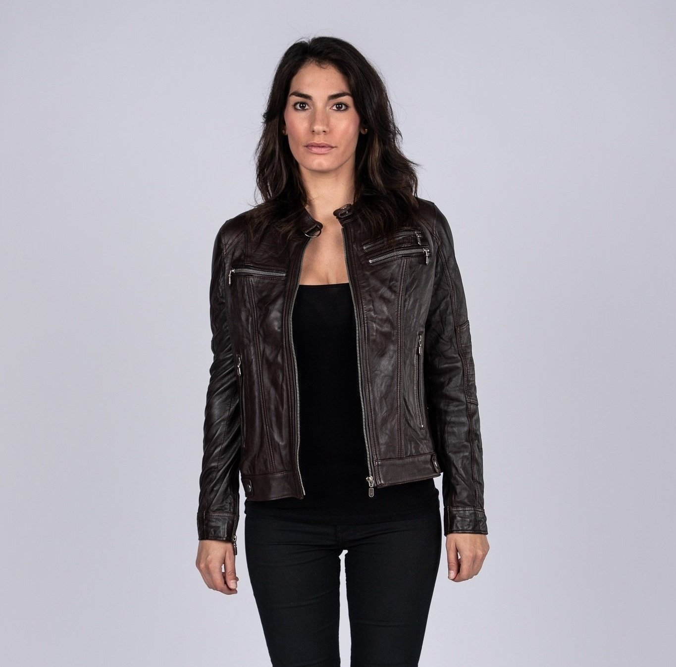 Womens Leather Jacket - Ladies Elektra Brown Washed Leather Jacket - Vintage Style