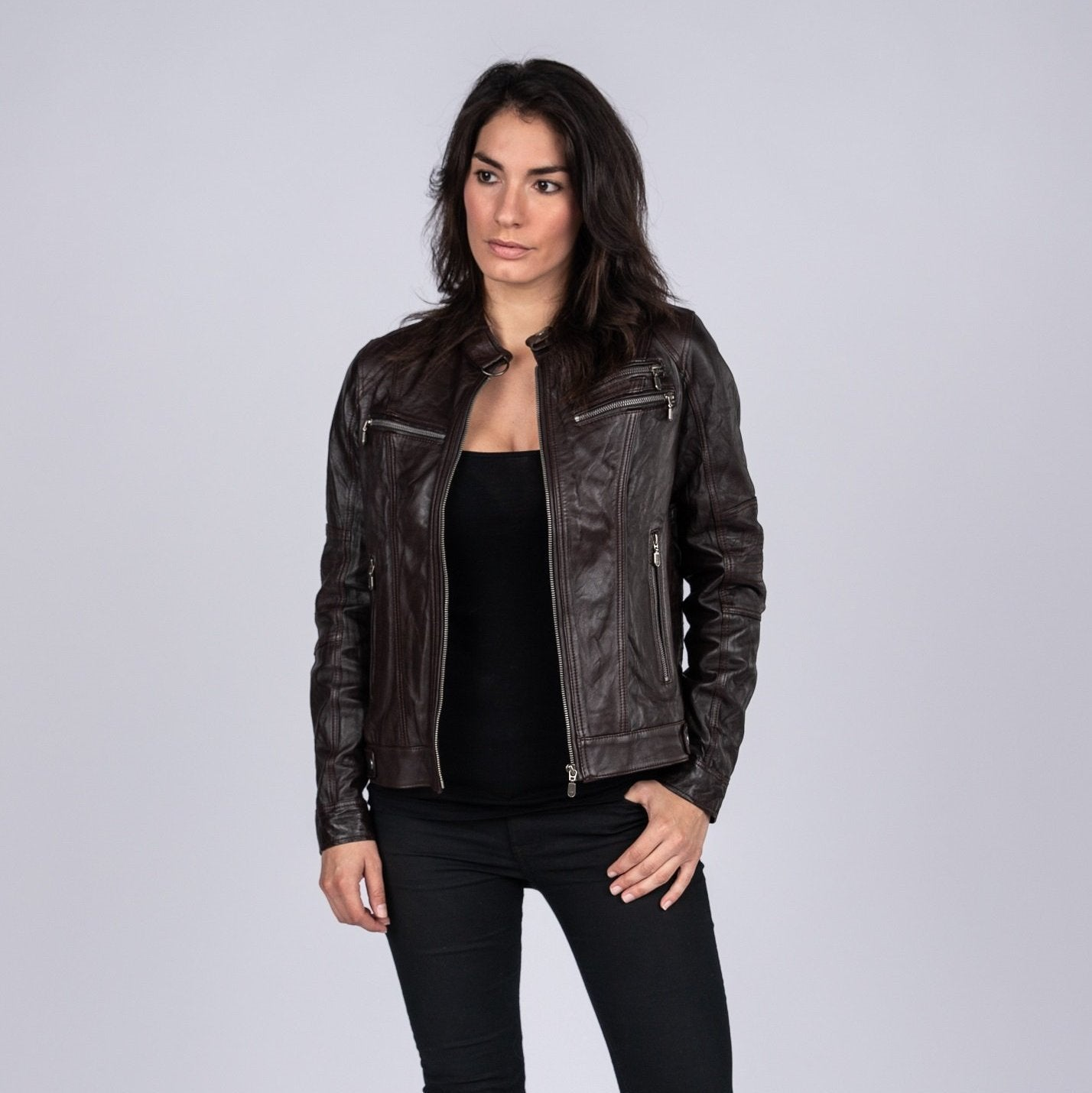 4e359d59c Ladies Elektra Washed Leather Jacket Spring Brown Womens Leather ...