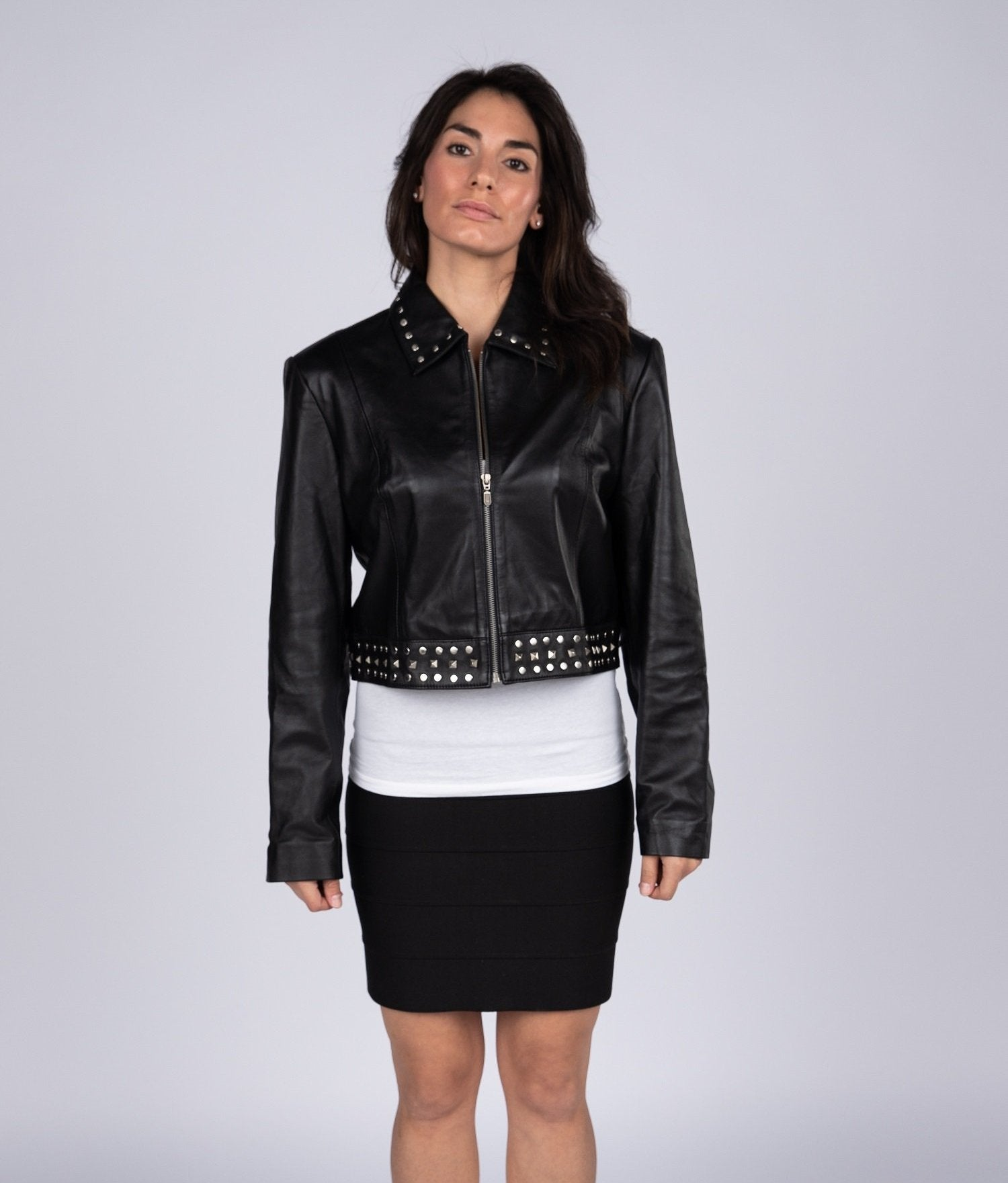 Womens Leather Jacket - Ladies Sexy Bolero Leather Jacket With Rivets
