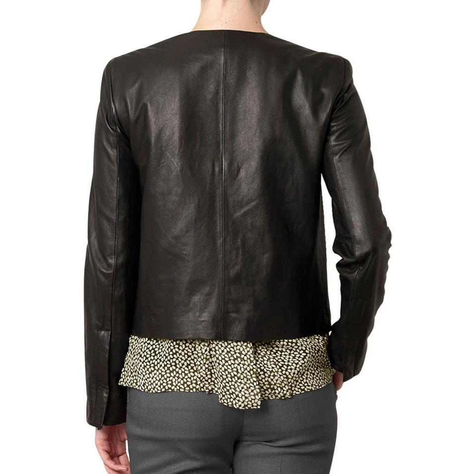 Womens Leather Jacket - Ladies Sharlene Collarless Leather Jacket