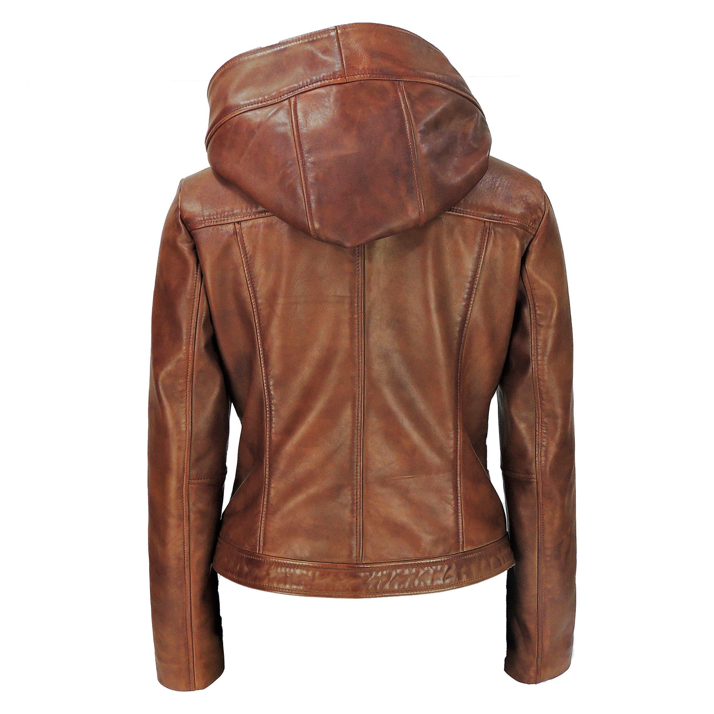 Womens Leather Jacket - Sasha High Fashion Womens Hooded Leather Jacket