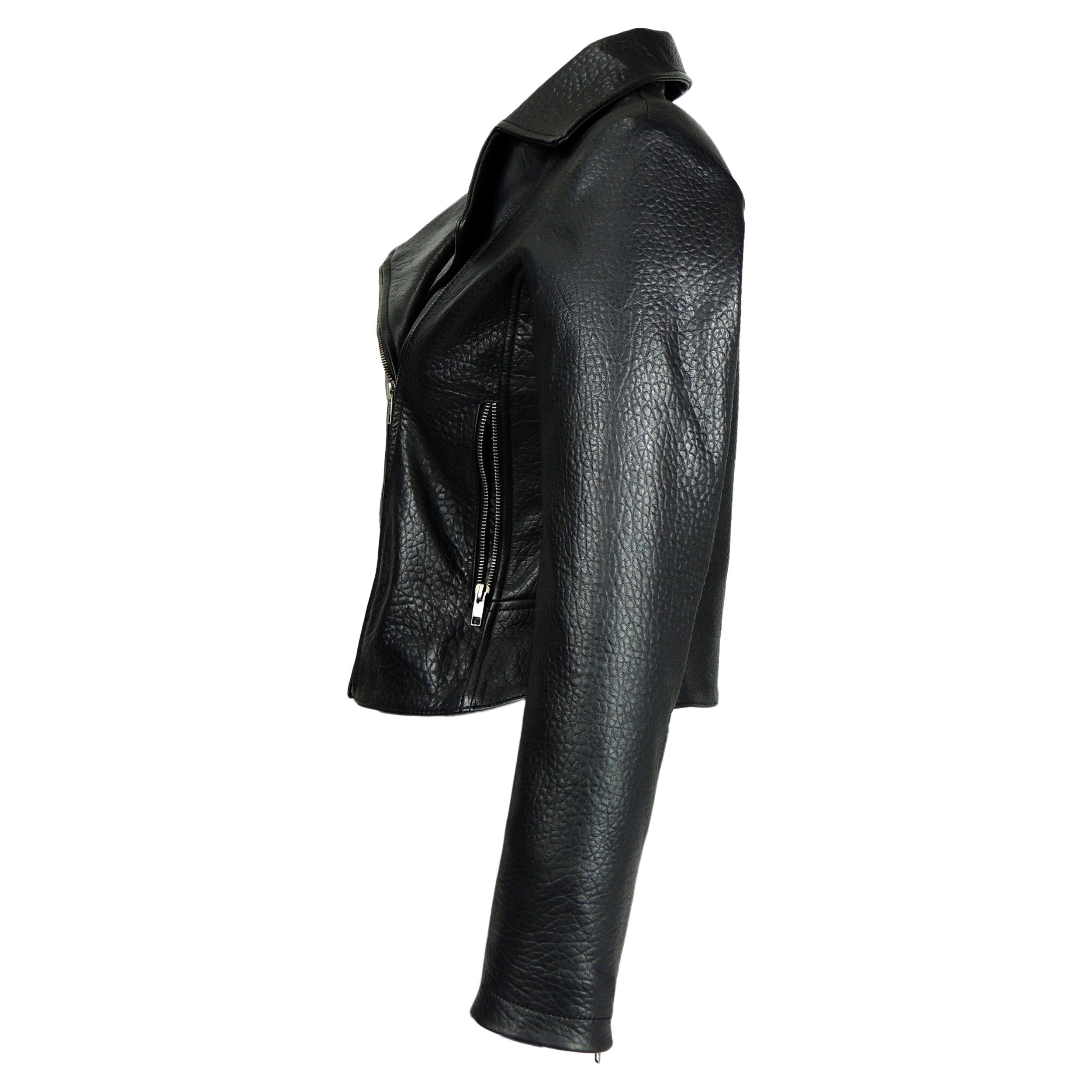 Womens Leather Jacket - Women Exotic Textured Fitted Cowhide Jacket