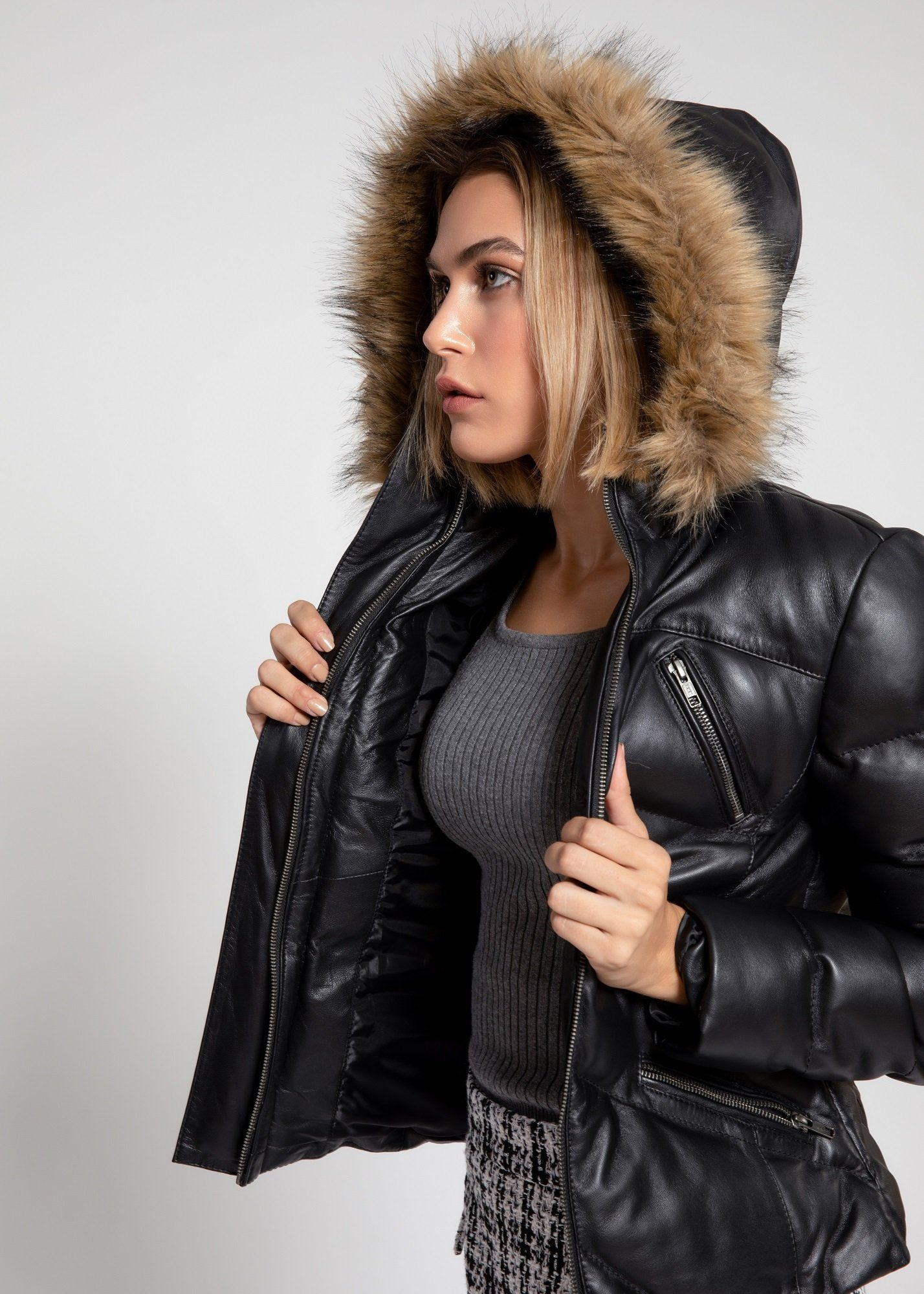 Womens Leather Jacket - Women's Joselyn Black Puffer Winter Down Leather Jacket With Fur