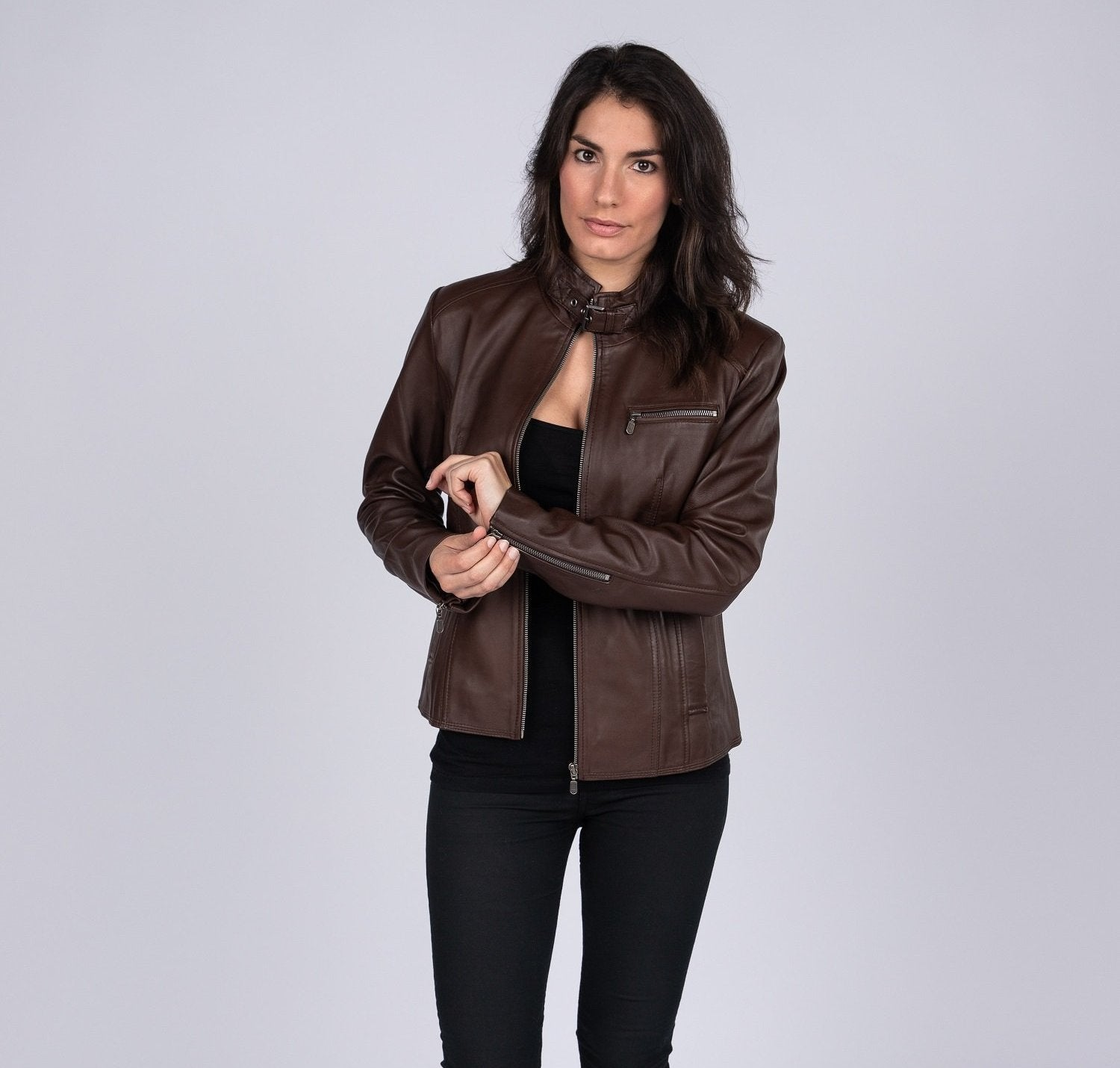 Womens Anne Vintage Leather Jacket, [option2] - Fadcloset