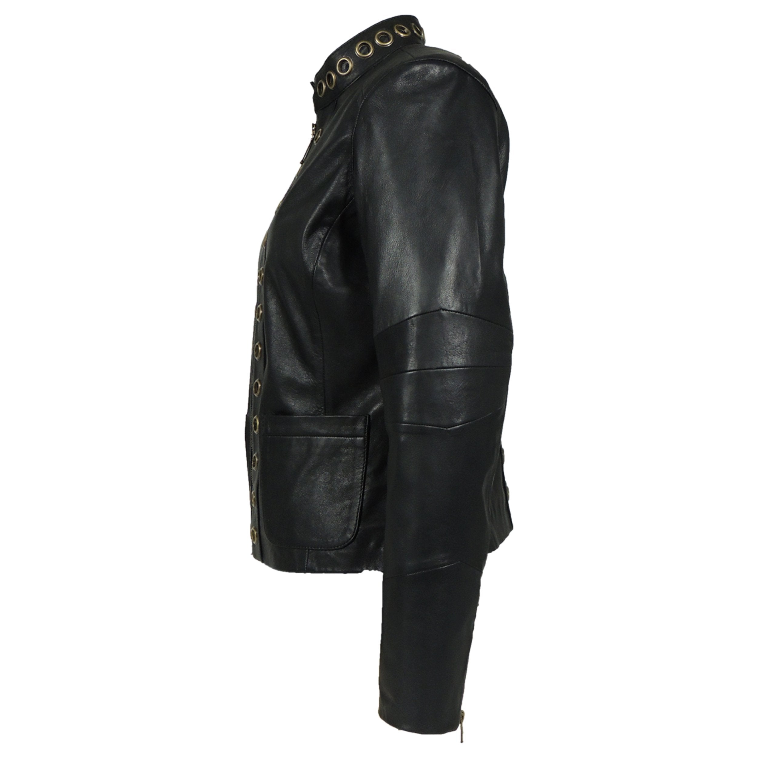 Womens Leather Jacket - Womens Apollo Goat Gromet Leather Jacket