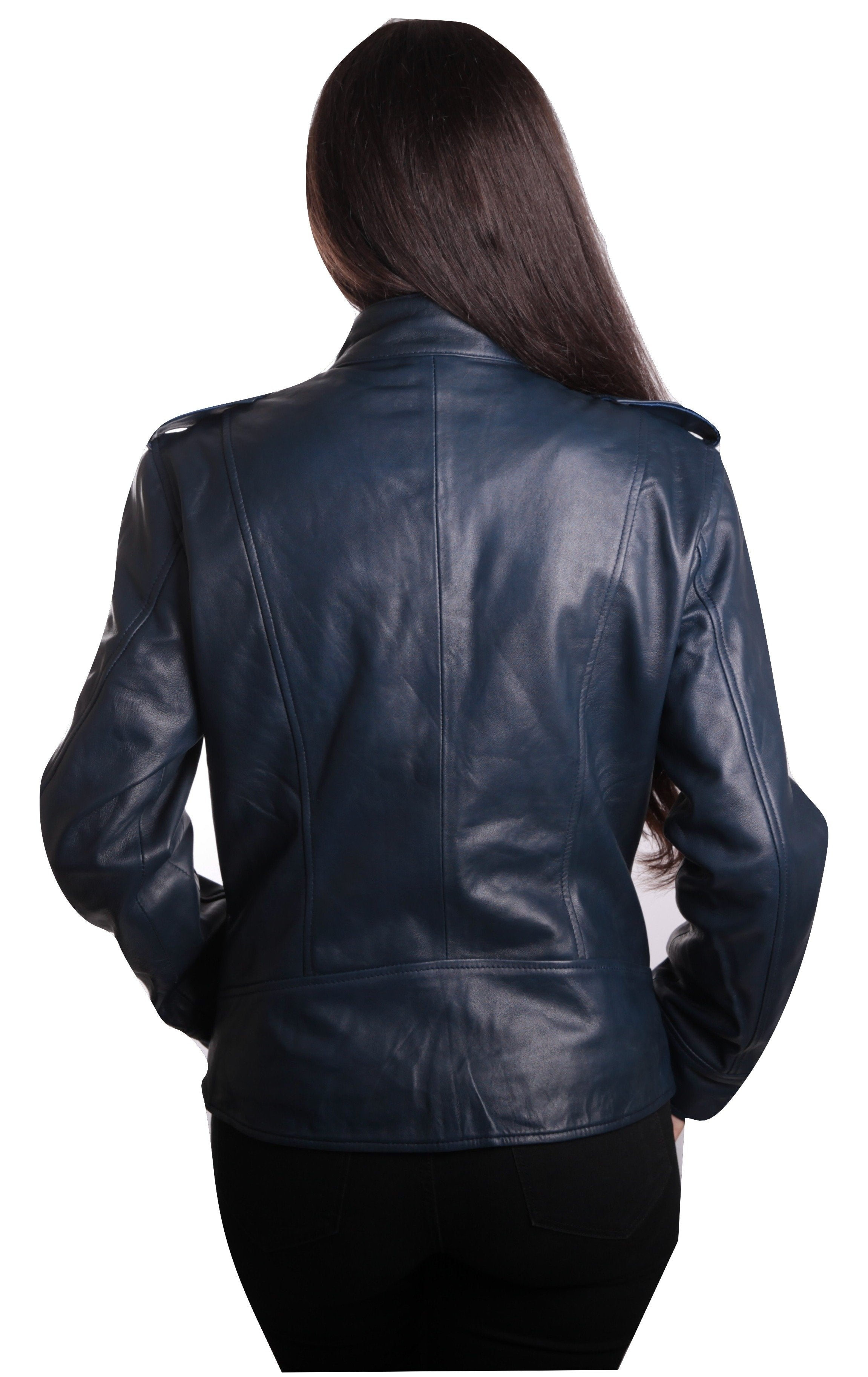 Womens Blue Supple Leather Jacket - fadcloset