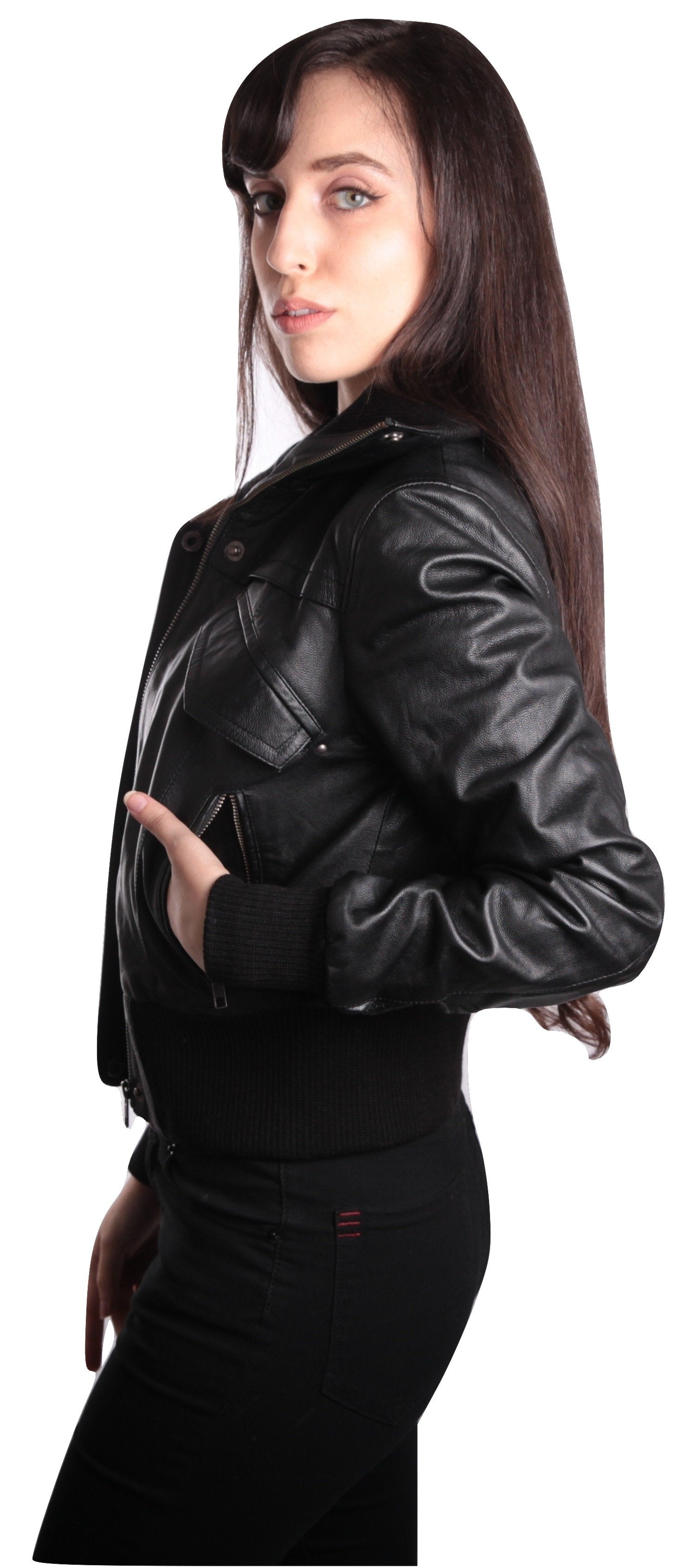 Women's Short-Cut Bomber Leather Jacket, [option2] - Fadcloset