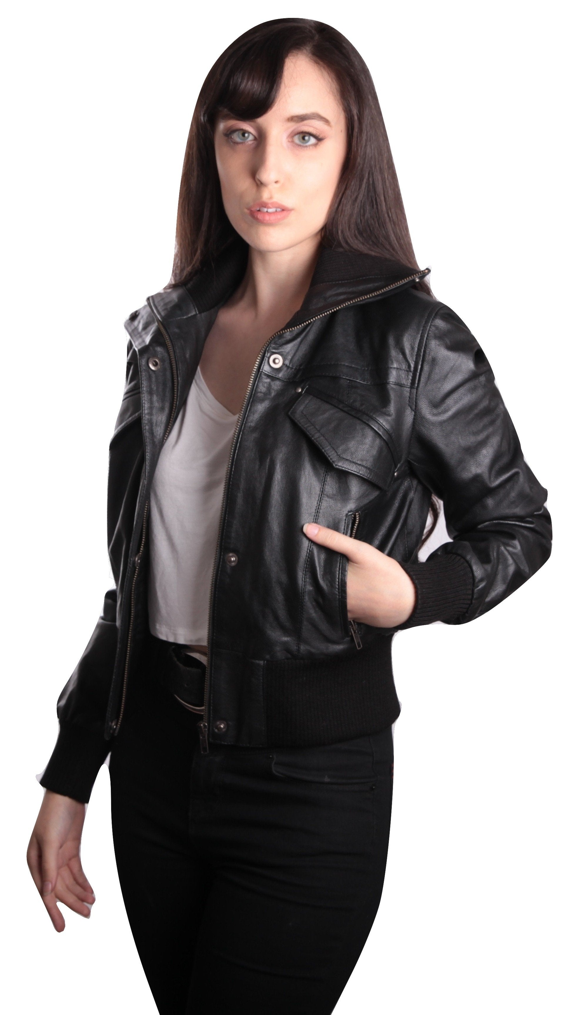 Womens Leather Jacket - Womens Bomber Leather Jacket