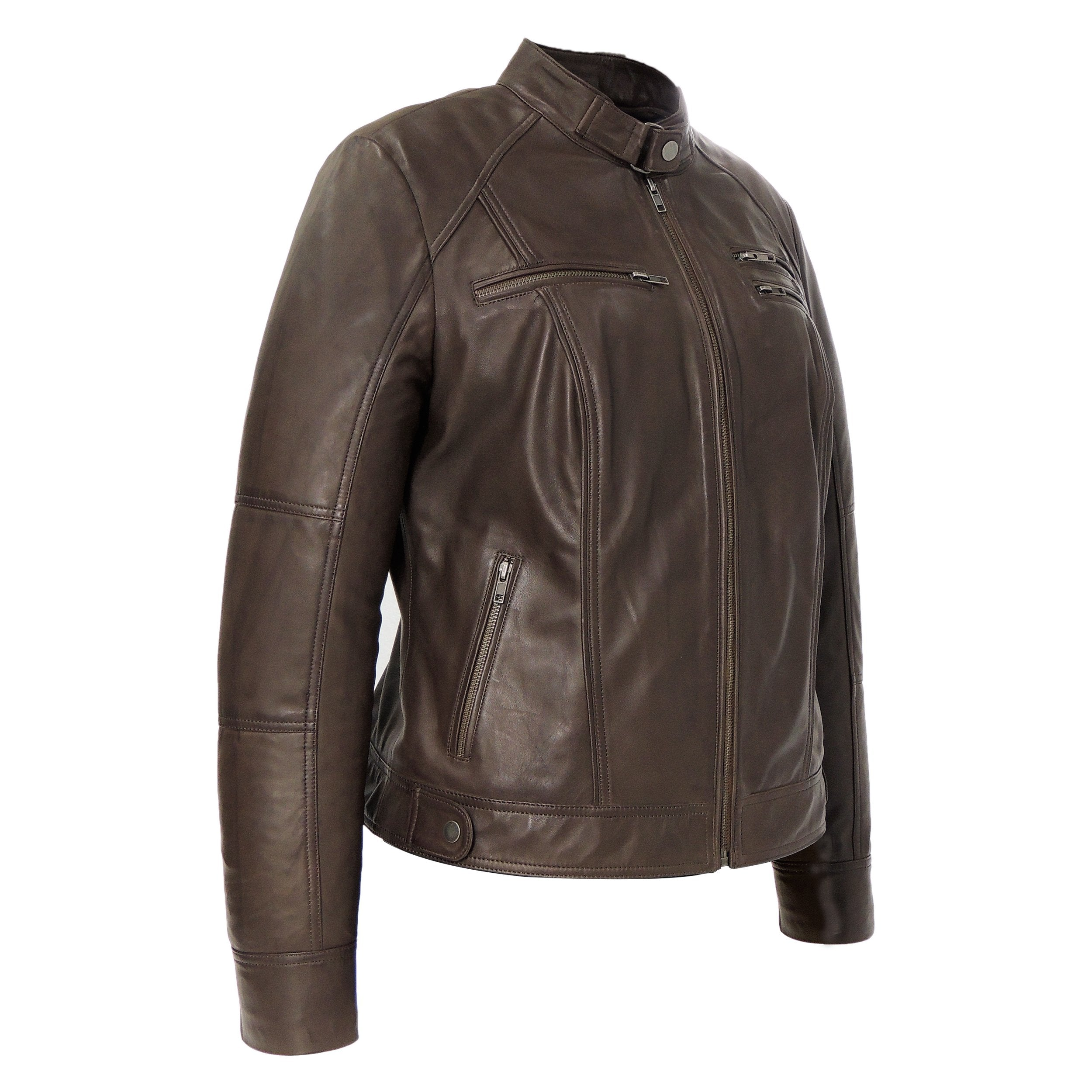 Womens Leather Jacket - Womens Brown Medium Leather Jacket