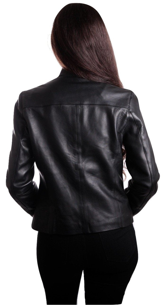 Womens Leather Jacket - Womens Classic Black Straight Trendy Leather Jacket