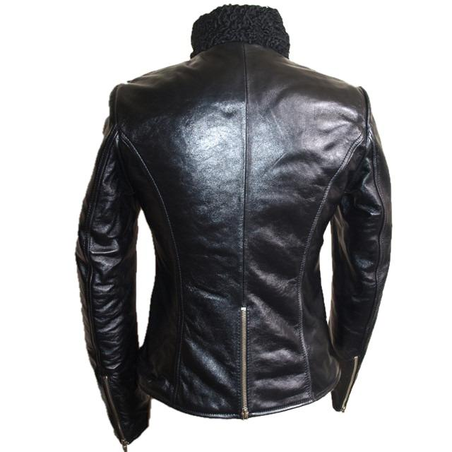 Womens Leather Jacket - Womens Exotic Karakul Fur Leather Jacket