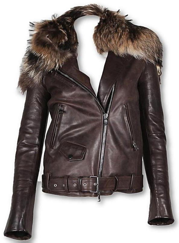 Womens Fur Collar Biker Leather Jacket - fadcloset