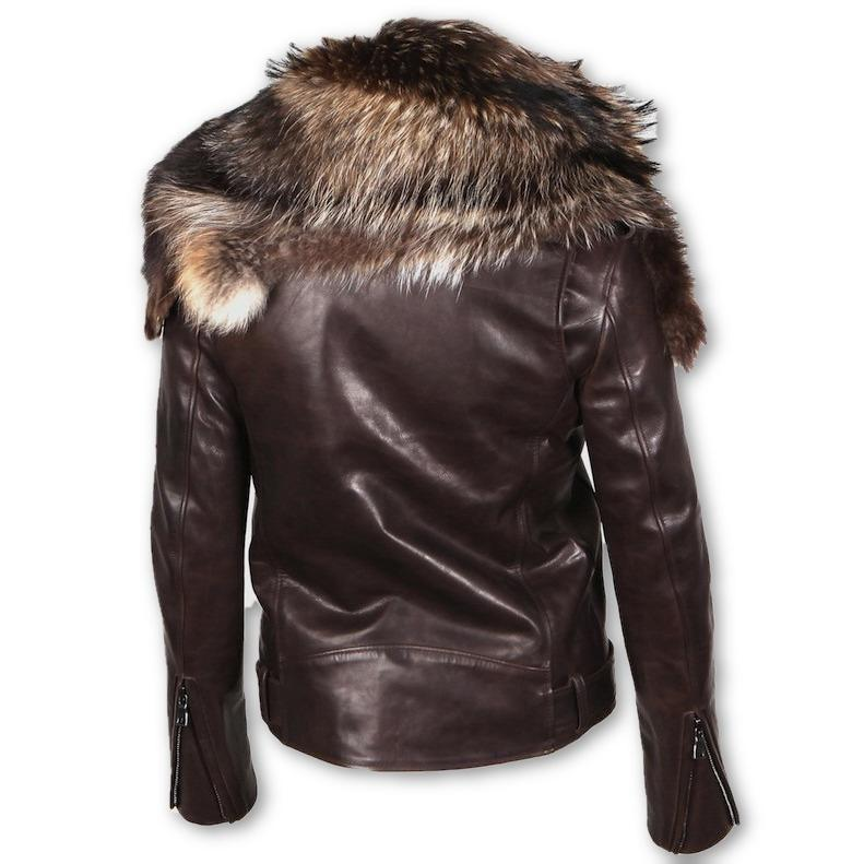 Womens Leather Jacket - Womens Fur Collar Biker Leather Jacket