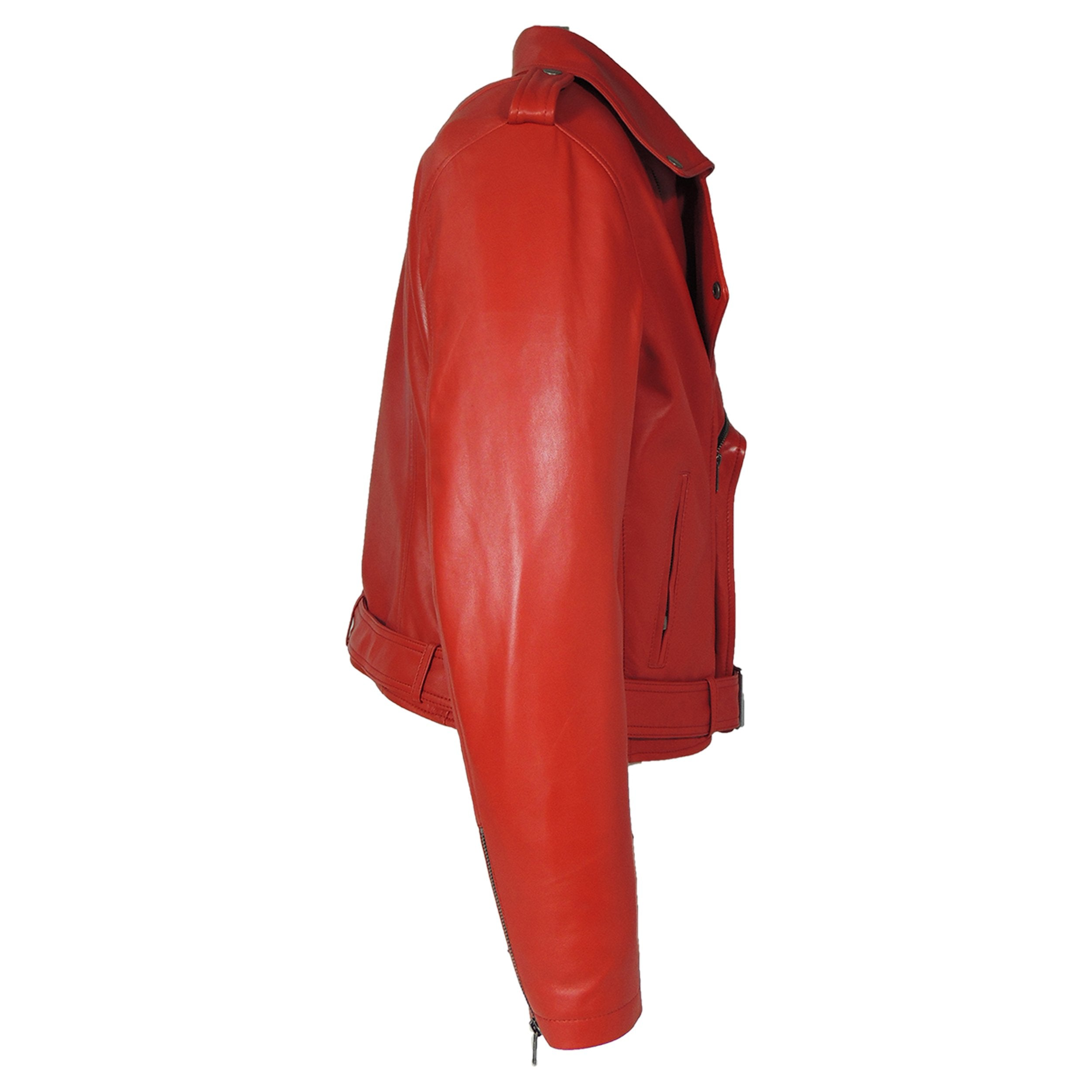 Womens Leather Jacket - Womens Moto Lipstick Red Leather Jacket