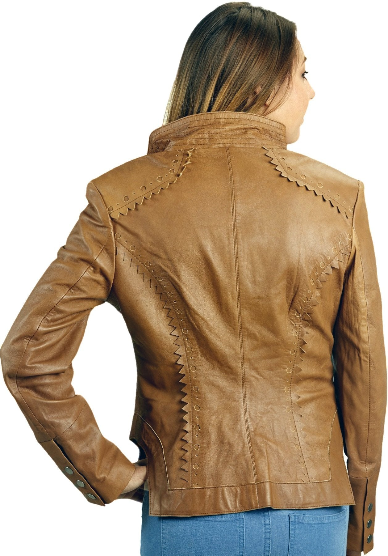Womens Leather Jacket - Womens Sexy Tan Biker Cutwork Leather Jacket