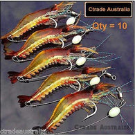 Prawn Lures Soft Plastics Qty = 10  Bream Flathead Whiting Bass Jewfish - Ctrade Australia