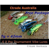 Qty = 6 Vibe Fishing Metal Lures Switch blade Lures 42mm 7g - Ctrade Australia