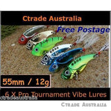 Qty = 6 Vibe Metal Lures Switch blade 55mm 12g Bream Flathead Snapper Bass Lures - Ctrade Australia