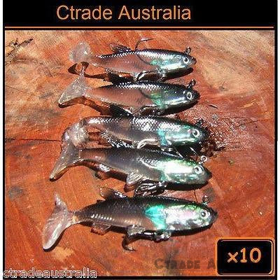 Qty = 10 Soft Plastics Mad Mullet Paddle Tail Lures 80mm 15g - Ctrade Australia