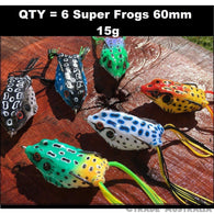 6 x Frog Lures 60 mm 15g Barra Bass Murray Cod Lures - Ctrade Australia