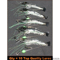 10 x GLOW Rigged Prawn Lures Bream Flathead Whiting Bass Jewfish Soft Plastics - Ctrade Australia