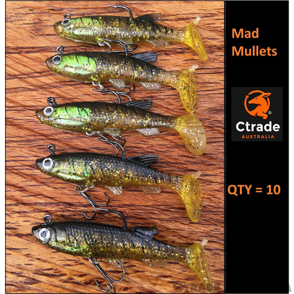 10 x Soft Plastic Lures Mad Mullets - Ctrade Australia