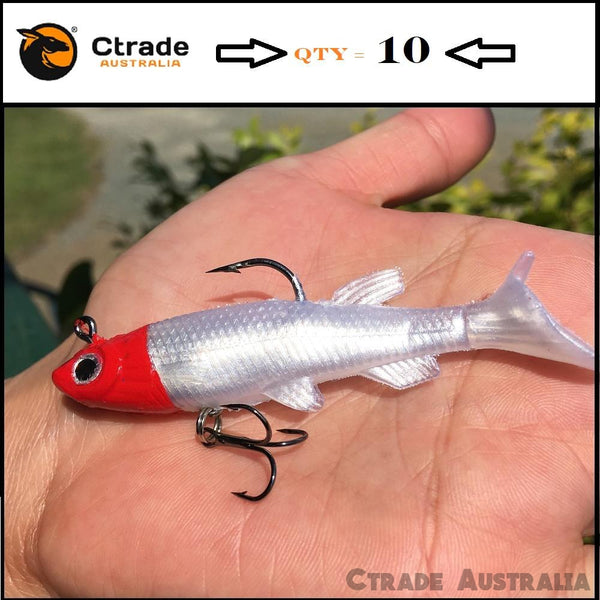 Qty = 10 Soft plastics 85mm Mad Mullet paddle tail soft lures rigged - Ctrade Australia